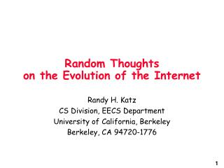 Random Thoughts on the Evolution of the Internet