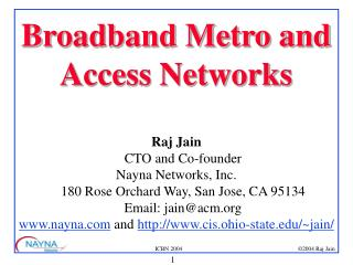 Broadband Metro and Access Networks