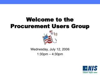 Welcome to the Procurement Users Group