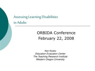 Assessing Learning Disabilities  in Adults