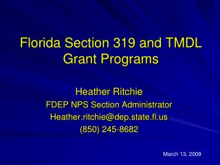 Florida Section 319 and TMDL Grant Programs
