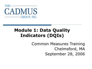 Module 1: Data Quality Indicators DQIs