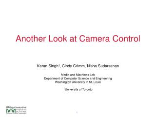 Another Look at Camera Control
