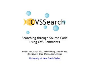 Searching through Source Code using CVS Comments