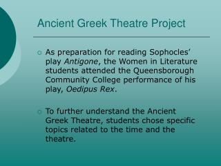 Ancient Greek Theatre Project