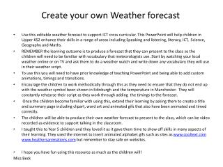 Create your own Weather forecast