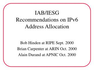 IAB/IESG Recommendations on IPv6 Address Allocation