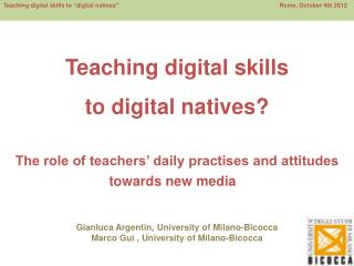 Teaching digital skills  to digital natives?