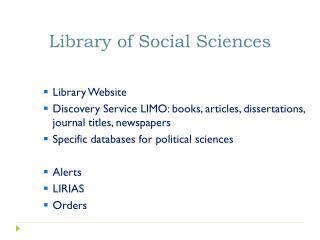 Library of  Social  Sciences