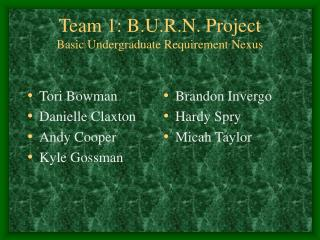 Team 1: B.U.R.N. Project Basic Undergraduate Requirement Nexus