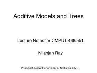 Additive Models and Trees
