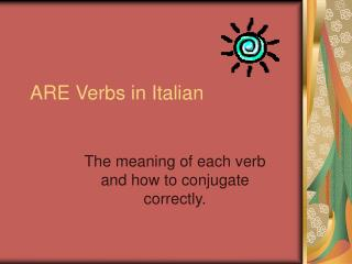 ARE Verbs in Italian