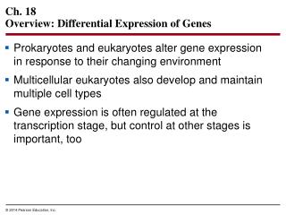 Ch. 18 Overview: Differential Expression of Genes