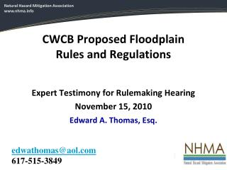 CWCB Proposed Floodplain Rules and Regulations