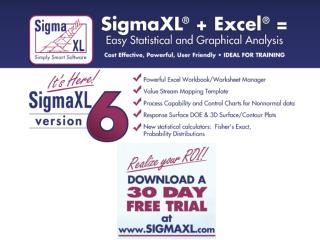 Introducing SigmaXL ®  Version 6