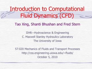 Introduction to Computational Fluid Dynamics CFD