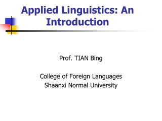 Applied Linguistics: An Introduction
