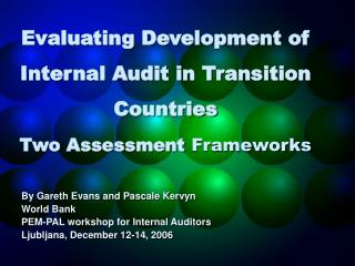 Evaluating Development of Internal Audit in Transition Countries Two Assessment Frameworks
