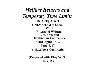 Welfare Returns and Temporary Time Limits