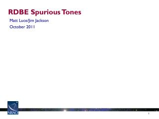 RDBE Spurious Tones