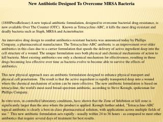 New Antibiotic Designed To Overcome MRSA Bacteria