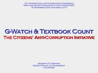 G-Watch & Textbook Count  The Citizens' Anti-Corruption Initiative