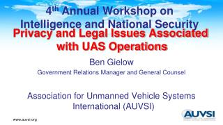 Privacy and Legal Issues Associated with UAS Operations