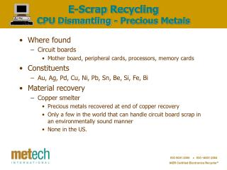 E-Scrap Recycling CPU Dismantling - Precious Metals
