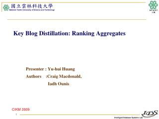 Key Blog Distillation: Ranking Aggregates