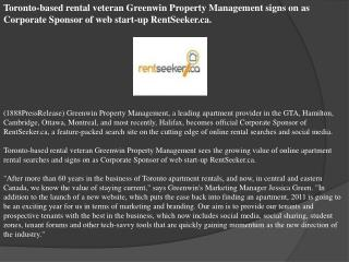Toronto-based rental veteran Greenwin Property Management si
