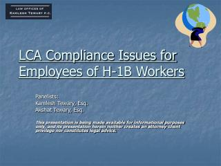 LCA Compliance Issues for Employees of H-1B Workers