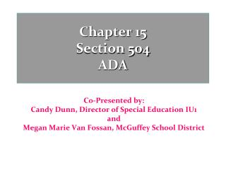 Chapter 15  Section 504 ADA