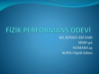 FİZİK PERFORMANS ÖDEVİ