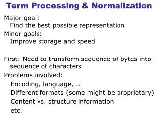 Term Processing & Normalization