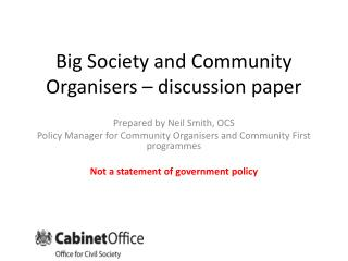 Big Society and Community Organisers – discussion paper