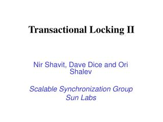 Transactional Locking II