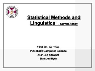 Statistical Methods and  Linguistics   -  Steven Abney