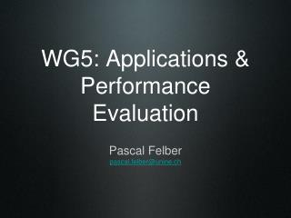 WG5: Applications & Performance Evaluation