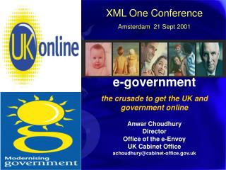 XML One Conference Amsterdam  21 Sept 2001 e-government