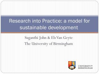 Research into Practice: a model for sustainable development