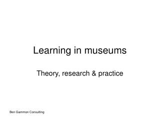 Learning in museums