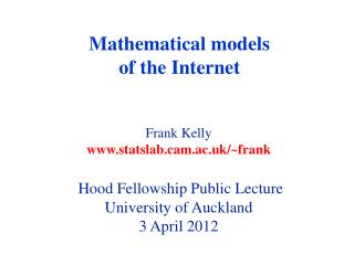 Mathematical models of the Internet