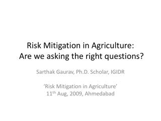 Risk Mitigation in Agriculture:  Are we asking the right questions?