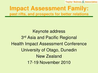 Impact Assessment Family:  past rifts, and prospects for better relations