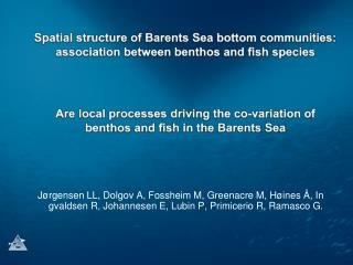Benthos – fish species  associations