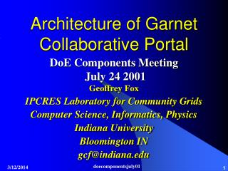 Architecture of Garnet Collaborative Portal