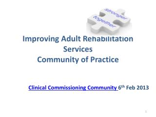 Improving Adult Rehabilitation Services Community of Practice