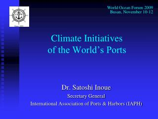 Climate Initiatives  of the World's Ports