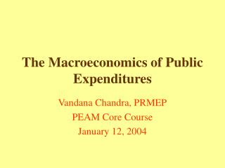 The Macroeconomics of Public Expenditures