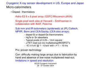 Cryogenic X-ray sensor development in US, Europe and Japan